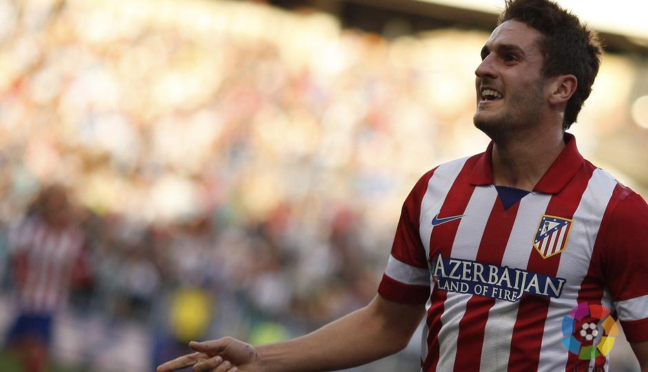 Temporada 13/14 Liga BBVA Málaga - Atlético de Madrid. Así celebró Koke el gol que le dio la victoria al Atlético en Málaga.