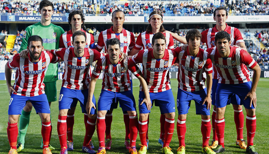 Temporada 13/14 Liga BBVA Málaga - Atlético de Madrid. Once titular ante el Málaga.
