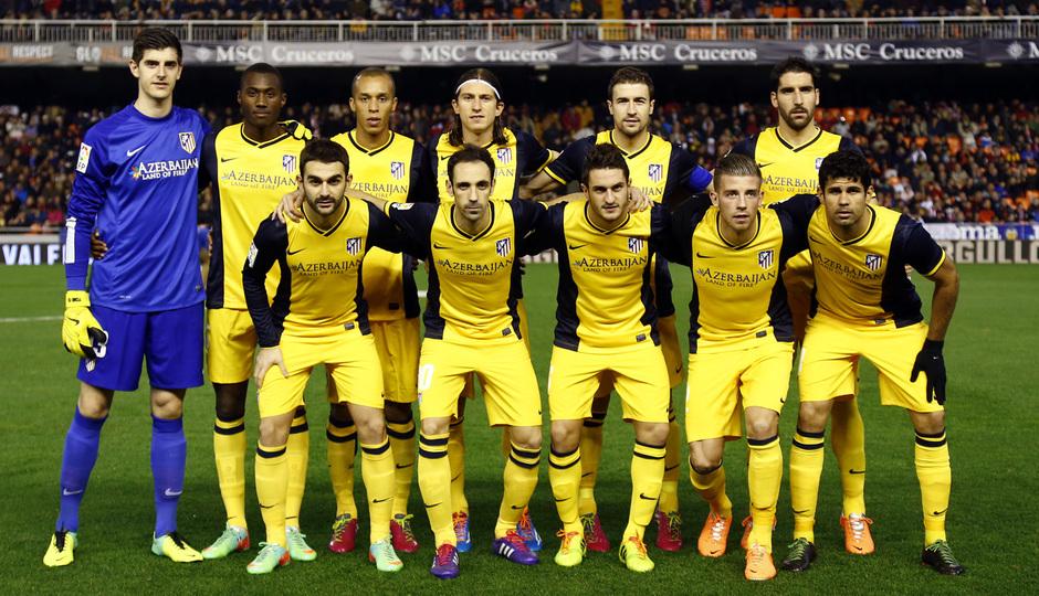 Temporada 13/14 Copa del Rey. Valencia - Atlético de Madrid. Once inicial del Atleti en Mestalla.