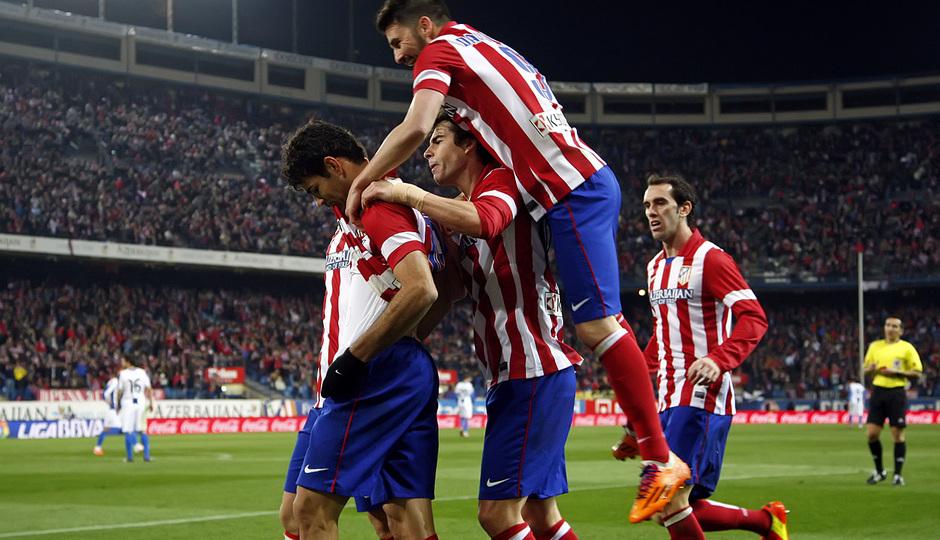 temporada 13/14. Partido Atlético de Madrid-Espanyol. Celebración gol de Costa