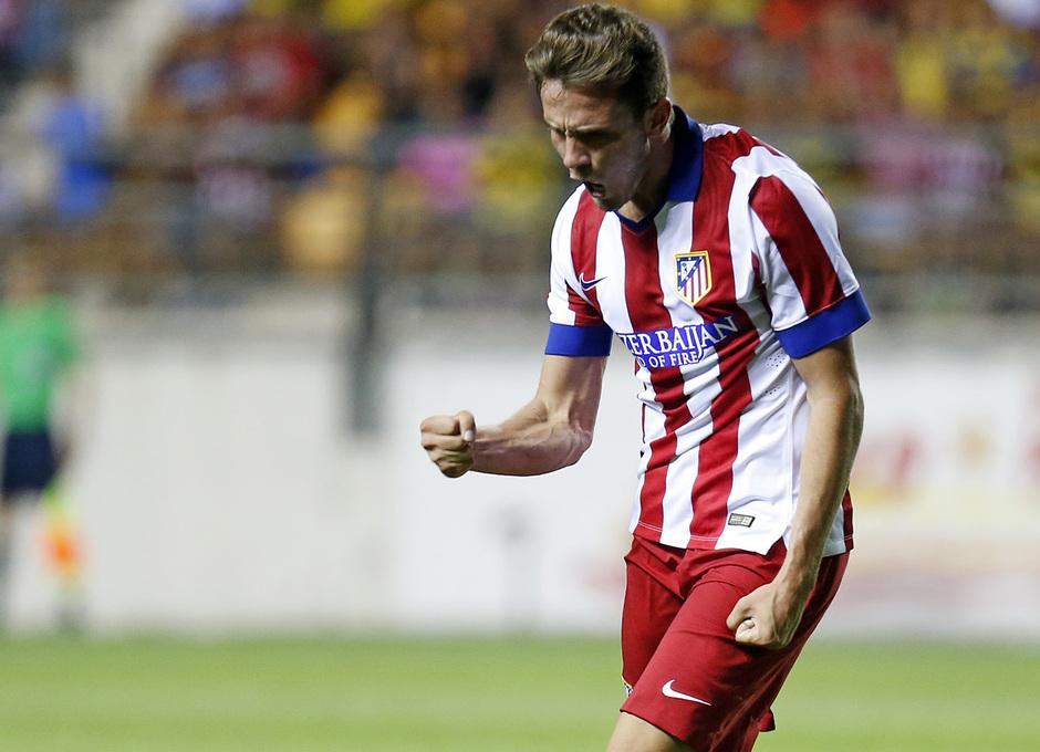 Pretemporada 2014-15. Atlético de Madrid - Sampdoria. Trofeo Ramón de Carranza. Saúl festeja con rabia el primer gol.