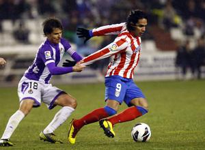 Temporada 2012-13. Falcao fue una pesadilla para la defensa del Real Valladolid en Zorrilla.