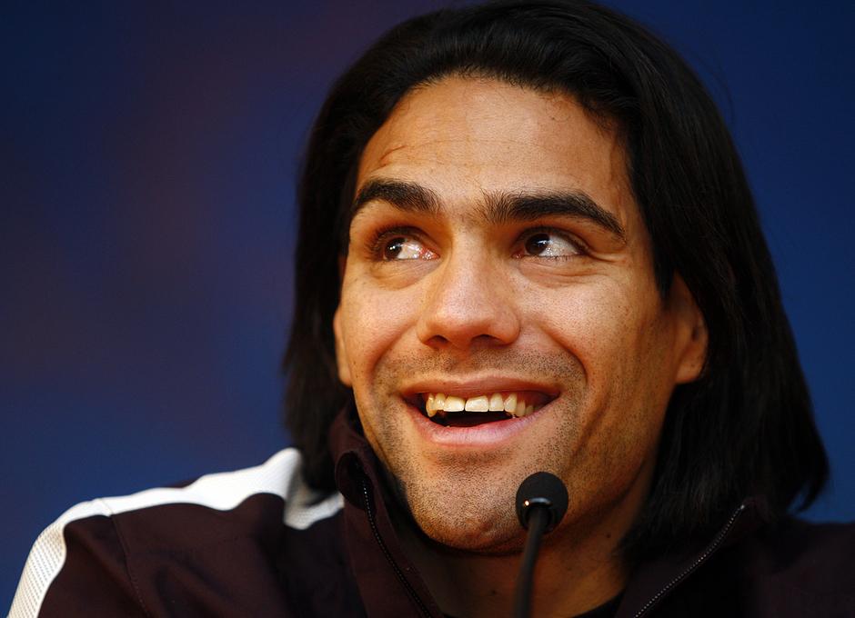 Radamel Falcao, durante la rueda de prensa oficial previa al Rubin-Atlético