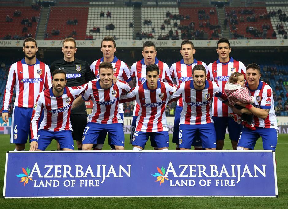 Temporada 14-15. 1/16 Copa del Rey. Atlético de Madrid-L'Hospitalet. Once inicial ante el L'Hospitalet.