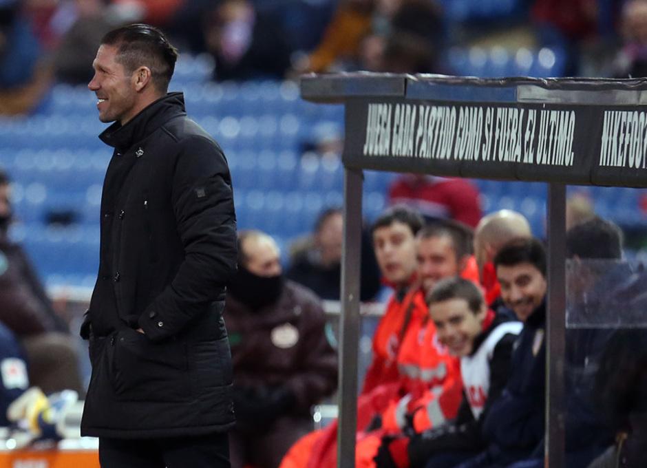temporada 14/15. Partido Atlético de Madrid Hospitalet.Simeone sonriendo durante el partido