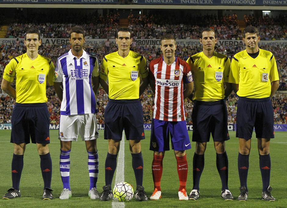 Partido amistoso Atlético de Madrid - Real Sociedad. Gabi ejerce de capitán del equipo