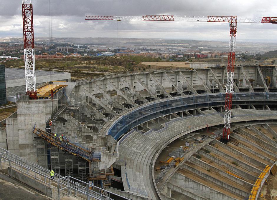 Vista del estado de las obras del fondo norte del Nuevo Estadio
