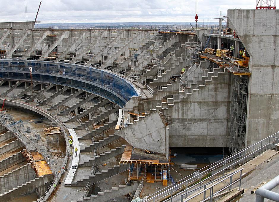 Vista del estado de las obras del fondo de sur del Nuevo Estadio