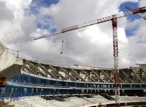 Detalle del estado de las obras en la grada alta e intermedia del fondo norte del Nuevo Estadio