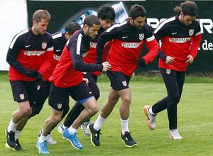Temporada 12/13. Entrenamiento,jugadores corriendo en el entrenamiento en la Ciudad Deportiva de Majadahonda