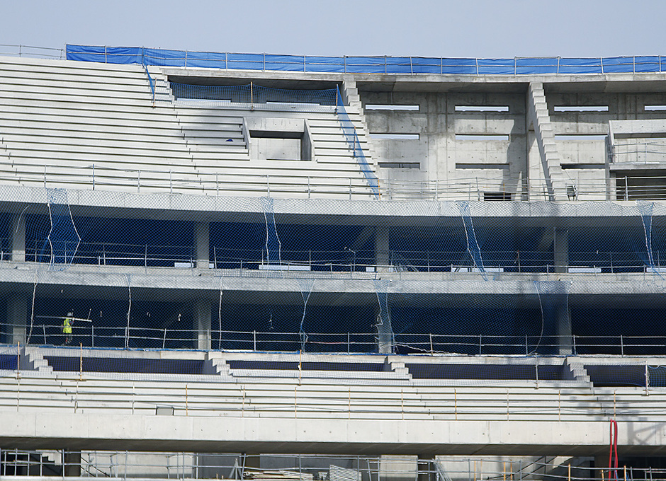 Nuevo estadio. Avance de las gradas en la grada alta del fondo norte
