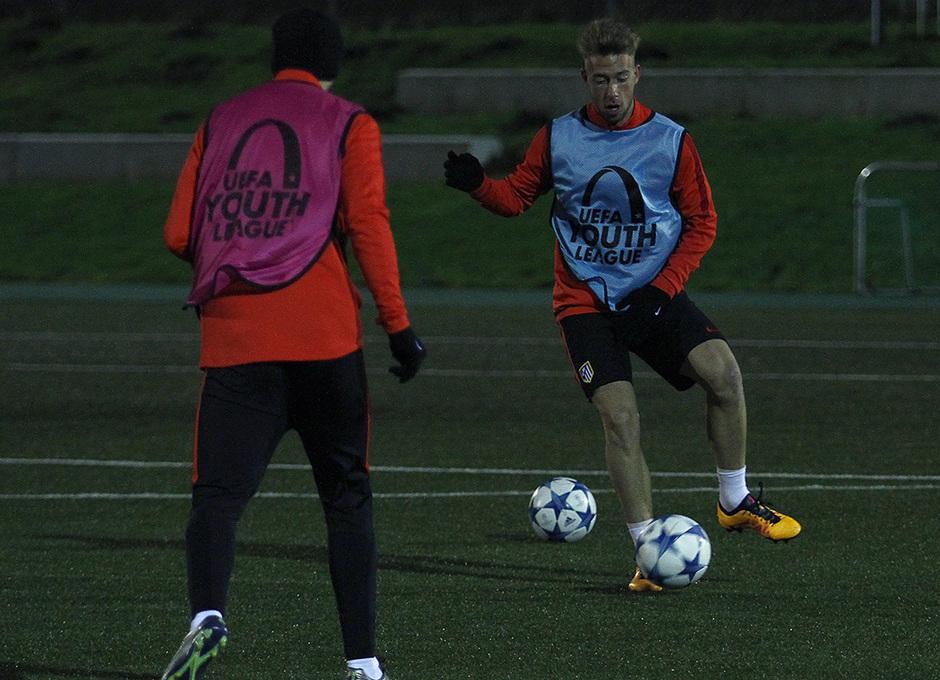 Rober, en un momento del entrenamiento vespertino realizado en Dinamarca