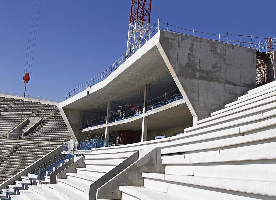 Nuevo Estadio. Detalle de espacios para videomarcador norte, y centros de control y seguridad del edificio