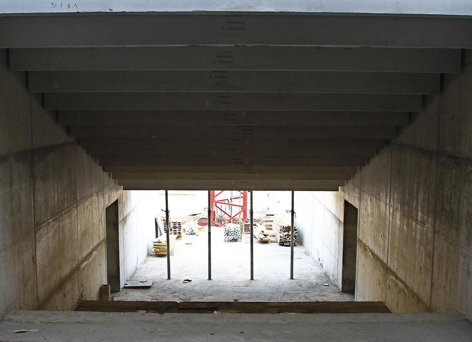 Nuevo estadio. Túnel de salida de jugadores al terreno de juego