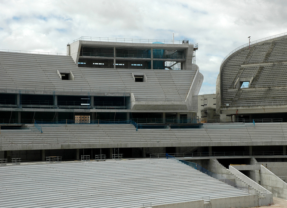 Nuevo estadio. Vista del graderío sur en todos sus niveles