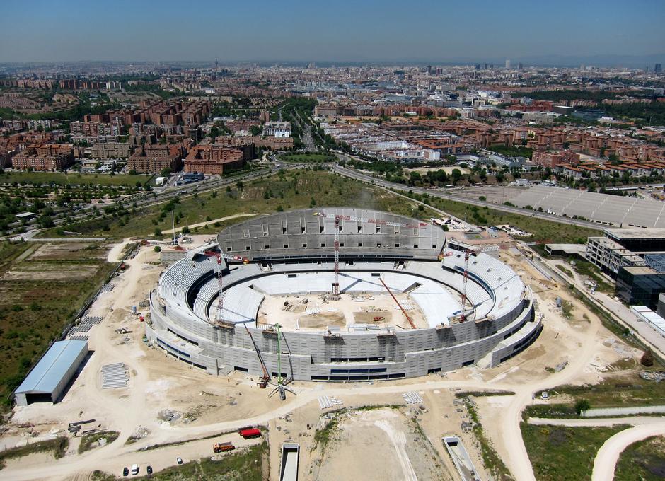 Nuevo estadio del Atlético de Madrid. Vista aérea.