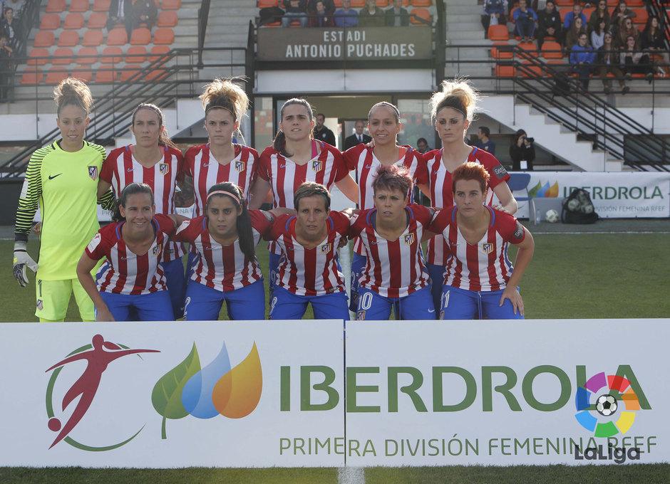 Once del Atlético de Madrid Femenino en el partido contra el Valencia