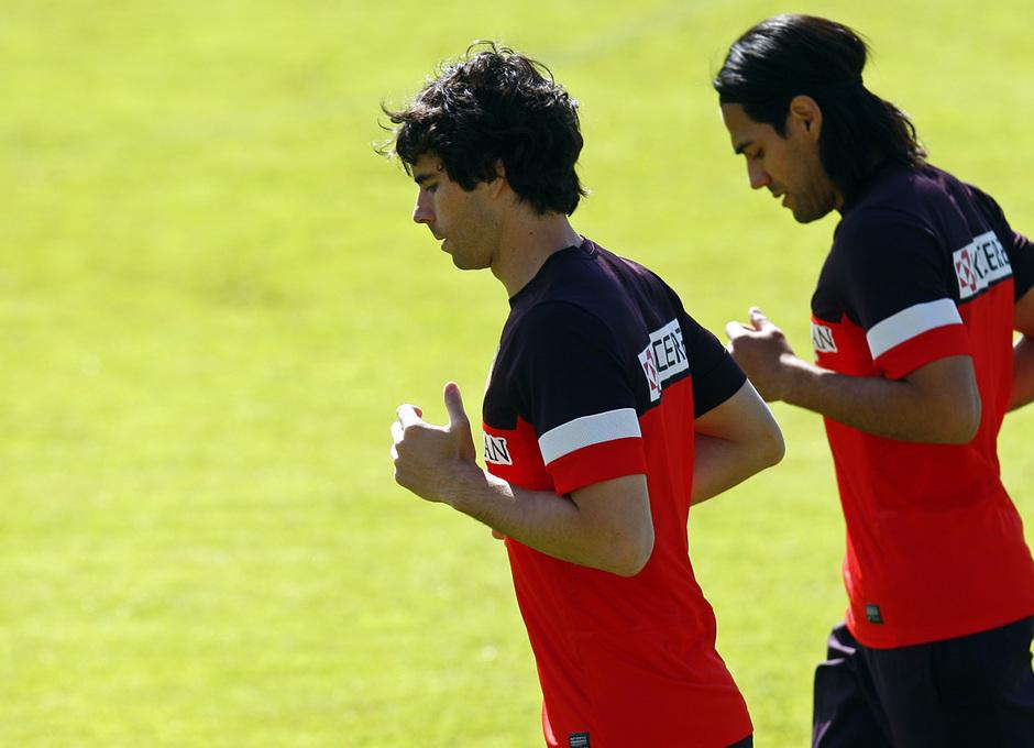 Tiago y Falcao, durante la sesión de trabajo del lunes 6 de mayo en Majadahonda