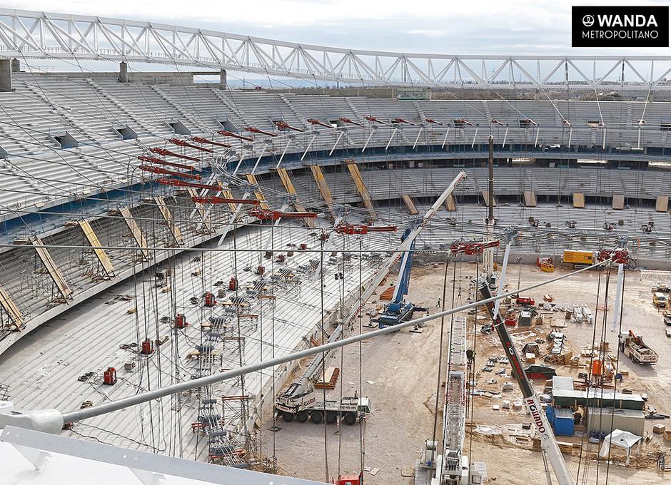 Imagen desde el anillo de compresión de la cubierta del Wanda Metropolitano (20 de enero)