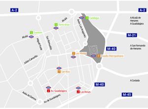 Temporada 2017-18. Plano estaciones de Metro Wanda Metropolitano