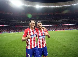 Inauguración del Wanda Metropolitano. 16 de septiembre de 2017. Koke y Filipe Luis.