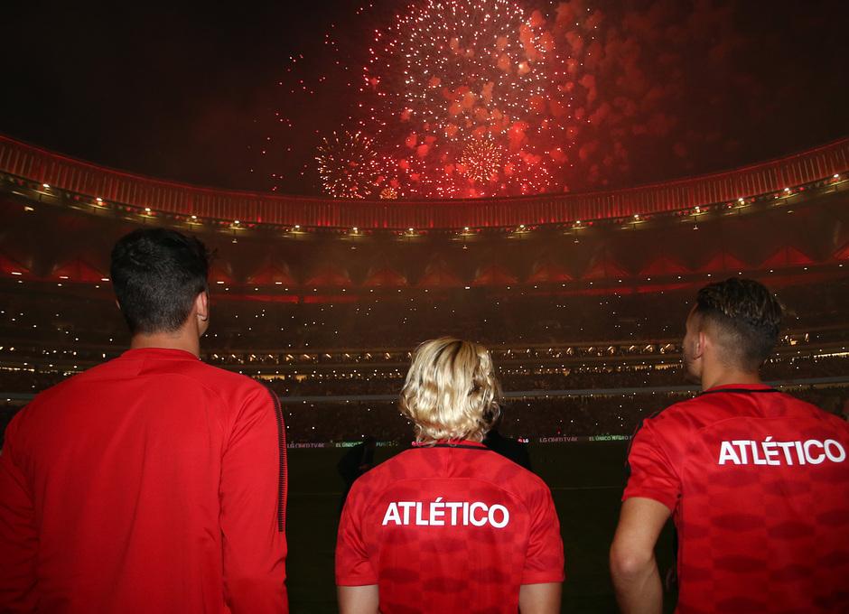 Inauguración del Wanda Metropolitano. 16 de septiembre de 2017. Griezmann, Lucas y Werner