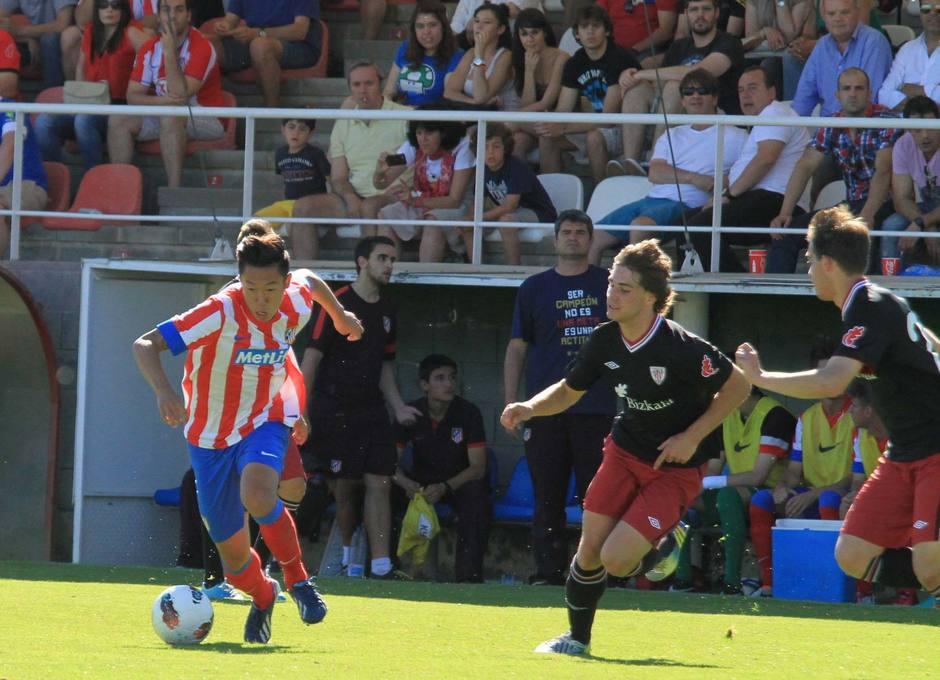 Xu Xin, del Atlético de Madrid Juvenil DH, en un momento del partido contra el Athletic