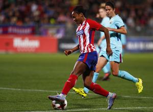 Temporada 17/18. Partido entre el Atlético de Madrid Femenino contra FC Barcelona. Francisca.