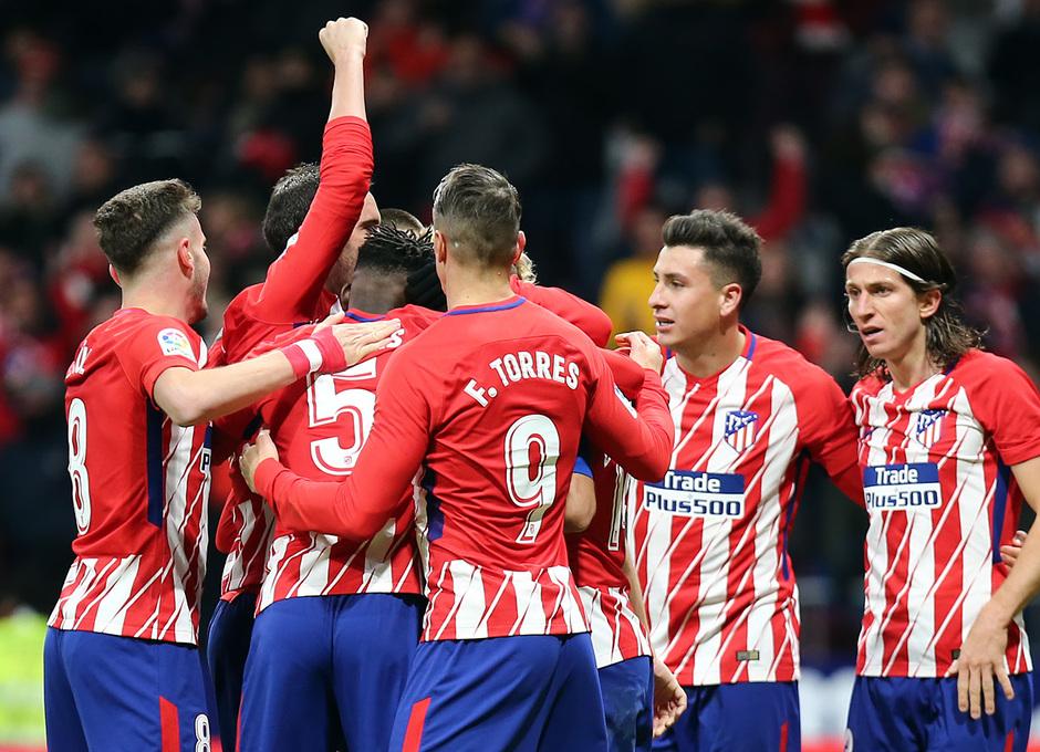 temporada 17/18. Partido en el Wanda Metropolitano. Atlético Real Sociedad. Celebracion gol
