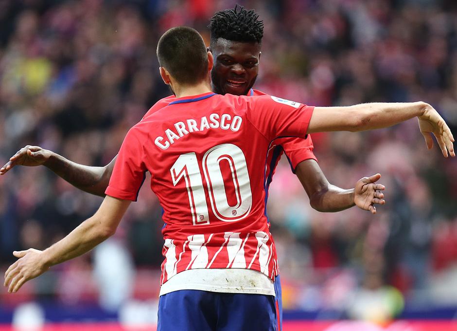 temporada 17/18. Partido Wanda Metropolitano. Atlético Las Palmas. Celebración Thomas Carrasco
