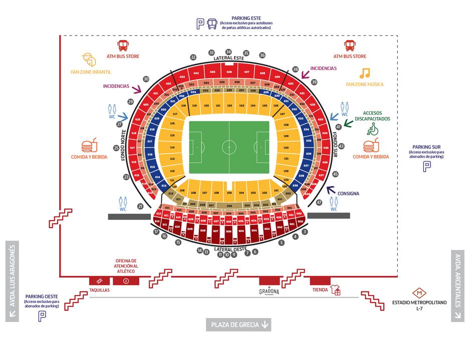 Temporada 2017/18. Plano Wanda Metropolitano con Restaurante Gradona. 20/04/18. Español