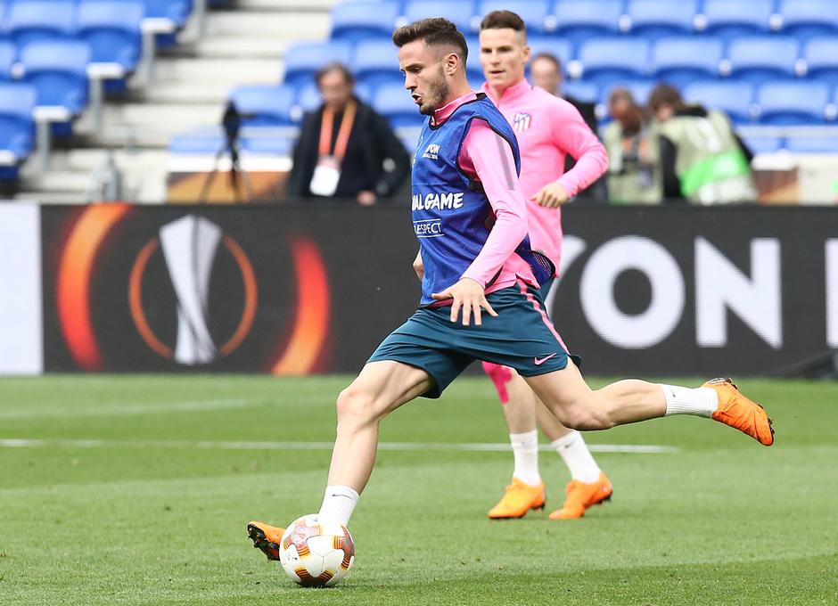 Temporada 17/18. Atlético de Madrid. Final de la Europa League en Lyon. Entrenamiento. Saúl