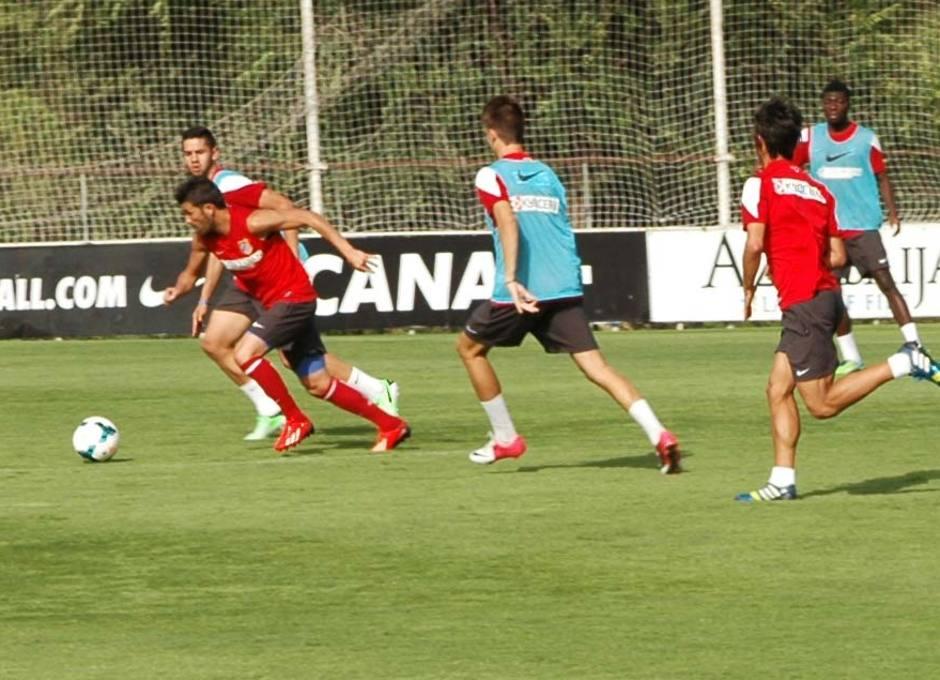 Villa, en un momento del partido de entrenamiento el jueves 1 de agosto en la Ciudad Deportiva