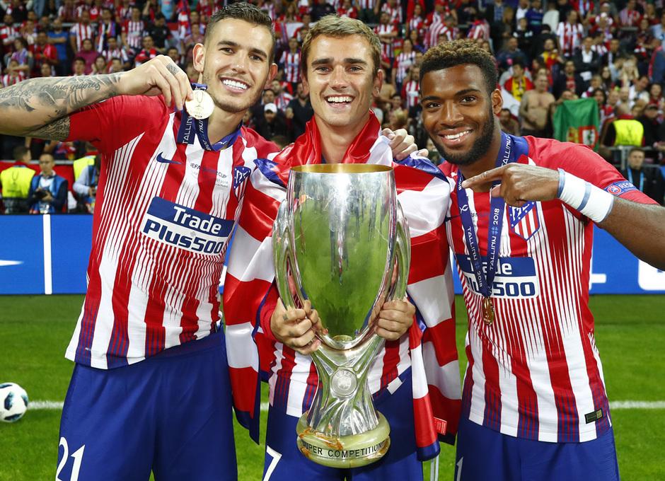 temporada 18/19. Supercopa de Europa. Griezmann, Lucas, Lemar