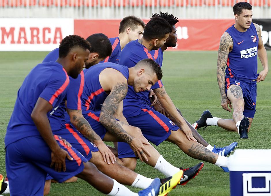 Temporada 18/19. Entrenamiento en la ciudad deportiva Wanda Atlético de Madrid. 23/08/2018. Giménez