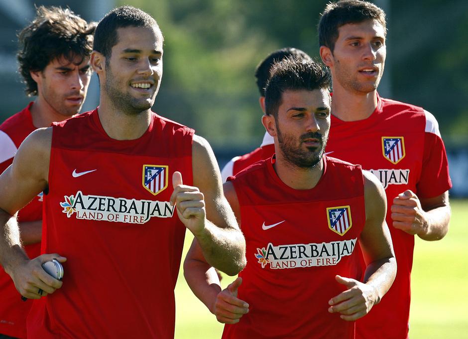 Mario Suárez, Villa, Tiago y Borja realizan carrera continua en la Ciudad Deportiva en el entrenamiento del jueves 8