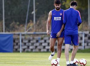 Temporada 18/19. Entrenamiento en la ciudad deportiva Wanda Atlético de Madrid. 06_09_2018. Diego Costa y Kalinic.