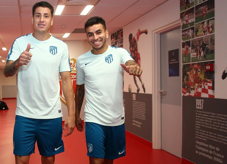 Temp. 18-19   Entrenamiento oficial Champions League en Mónaco   UCL   Correa y Giménez