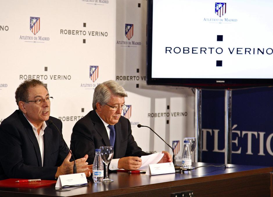 Temporada 13/14. Firma del nuevo contrato de Roberto Verino. Cerezo y  Roberto Verino durante el acto