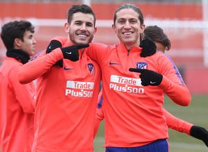 temporada 18/19. Entrenamiento en la ciudad deportiva Wanda. Lucas y Filipe durante el entrenamiento