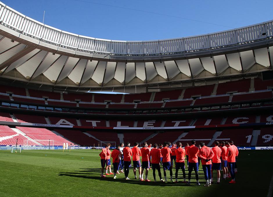 Temporada 18/19. Entrenamiento en el Wanda Metropolitano. Jugadores durante el entrenamiento