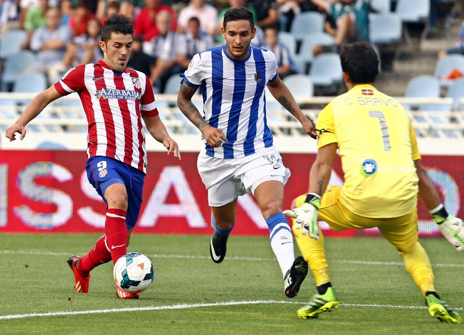 Temporada 2013/2014 Real Sociedad - Atlético de Madrid David Villa en su gol de vaselina