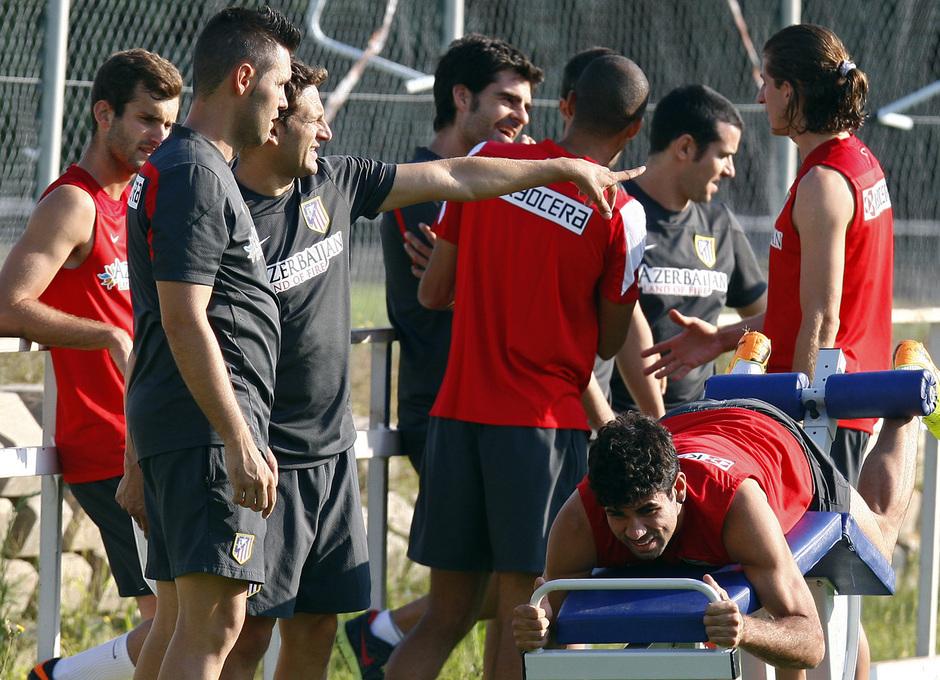 Temporada 13/14. Entrenamiento. Equipo entrenando en los Ángeles de San Rafael,Diego Costa ejercitandose