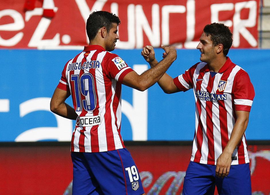Temporada 13/14. Partido Atlético de Madrid Almería. Diego Costa y Koke celebrando un gol
