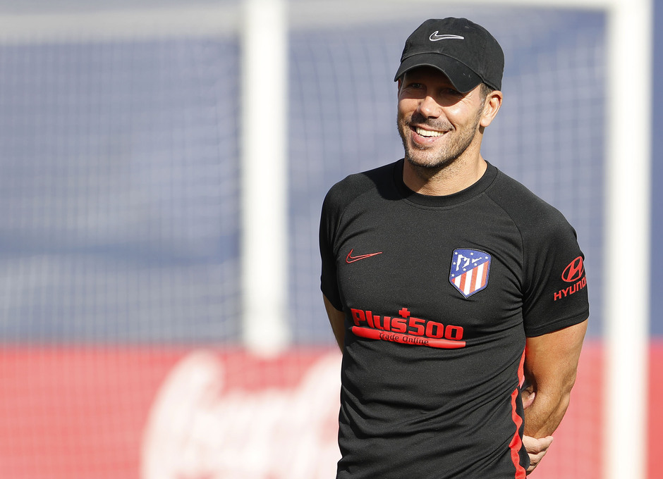 Entrenamiento en la Ciudad deportiva Wanda Atlético de Madrid 12-09-2019. Simeone.