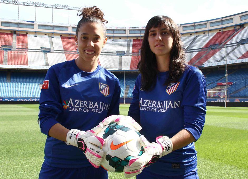Temporada 2013-2014. Las porteras del Féminas en el Estadio Vicente Calderón