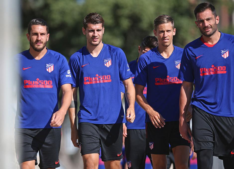 Temporada 19/20   Entrenamiento   Koke, Morata, Llorente y Adán