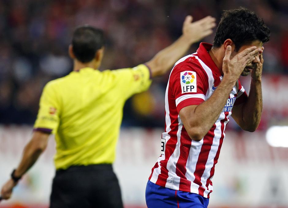 Temporada 13/14. Partido Atlético de Madrid-Betis. Diego Costa celebrando gol