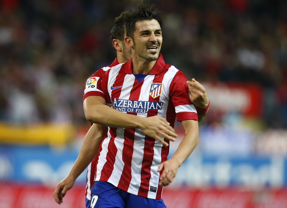 Temporada 13/14. Partido Atlético de Madrid-Betis. Villa celebrando el gol con Koke