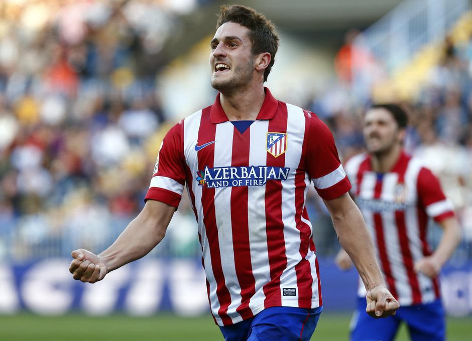 Temporada 13/14 Liga BBVA Málaga - Atlético de Madrid. Koke celebra el gol.